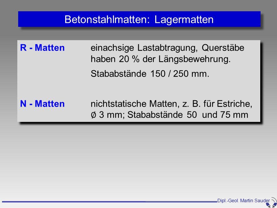 R - Matteneinachsige Lastabtragung, Querstäbe haben 20 % der Längsbewehrung. Stababstände 150 / 250 mm. N - Mattennichtstatische Matten, z. B. für Est