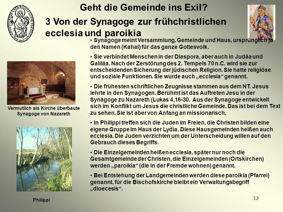 13 Geht die Gemeinde ins Exil? 3 Von der Synagoge zur frühchristlichen ecclesia und paroikia Vermutlich als Kirche überbaute Synagoge von Nazareth Phi
