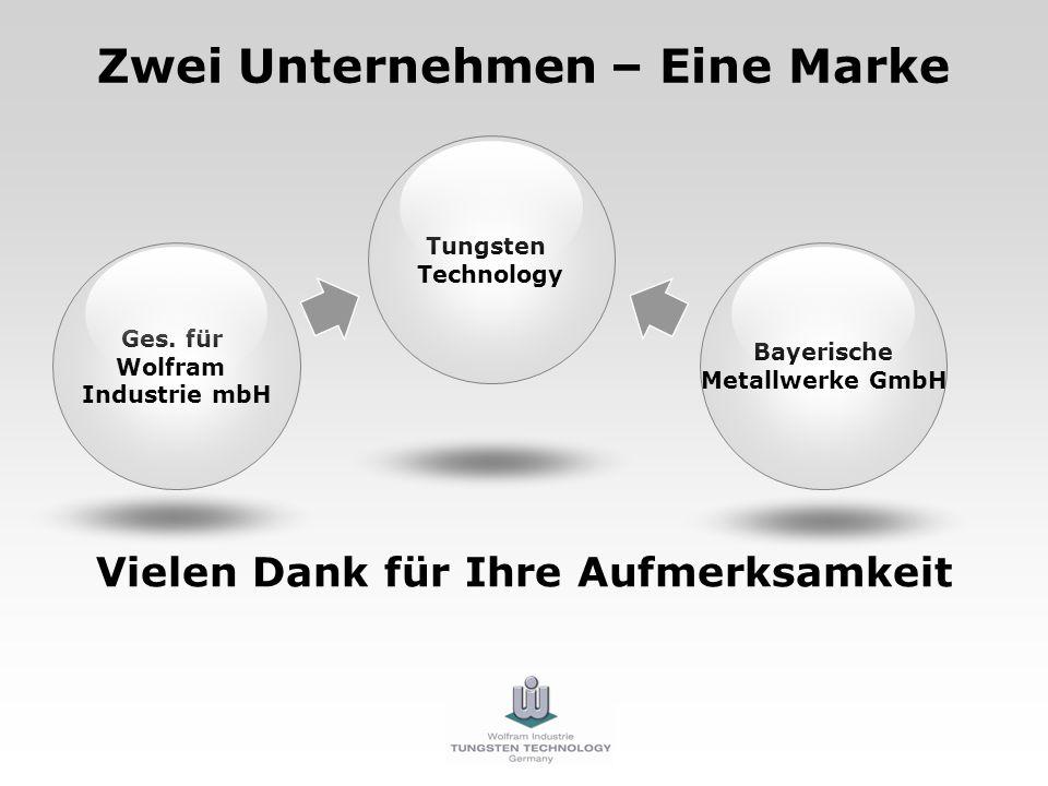 Zwei Unternehmen – Eine Marke Vielen Dank für Ihre Aufmerksamkeit Ges. für Wolfram Industrie mbH Bayerische Metallwerke GmbH Tungsten Technology