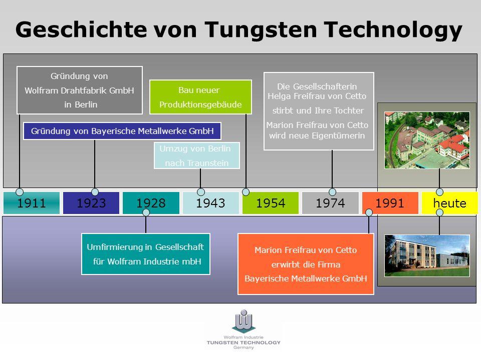 1911192319541974heute Gründung von Wolfram Drahtfabrik GmbH in Berlin Umzug von Berlin nach Traunstein Bau neuer Produktionsgebäude Die Gesellschafter