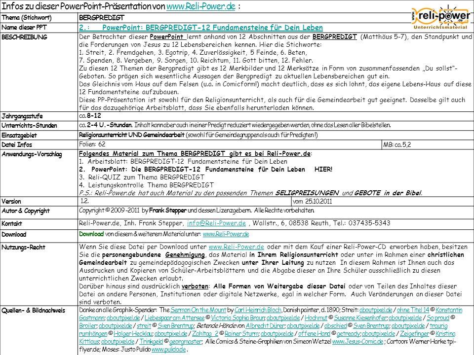 Infos zu dieser PowerPoint-Präsentation von www.Reli-Power.de :www.Reli-Power.de Thema (Stichwort) BERGPREDIGT Name dieser PPT 2.: PowerPoint: BERGPRE