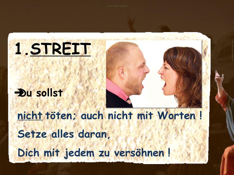 1.STREIT Du sollst nicht töten; auch nicht mit Worten ! Setze alles daran, Dich mit jedem zu versöhnen ! aboutpixel.de/streit © SvenBrentrup
