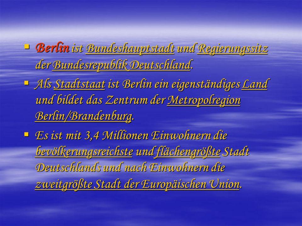 Berlin ist Bundeshauptstadt und Regierungssitz der Bundesrepublik Deutschland. Berlin ist Bundeshauptstadt und Regierungssitz der Bundesrepublik Deuts