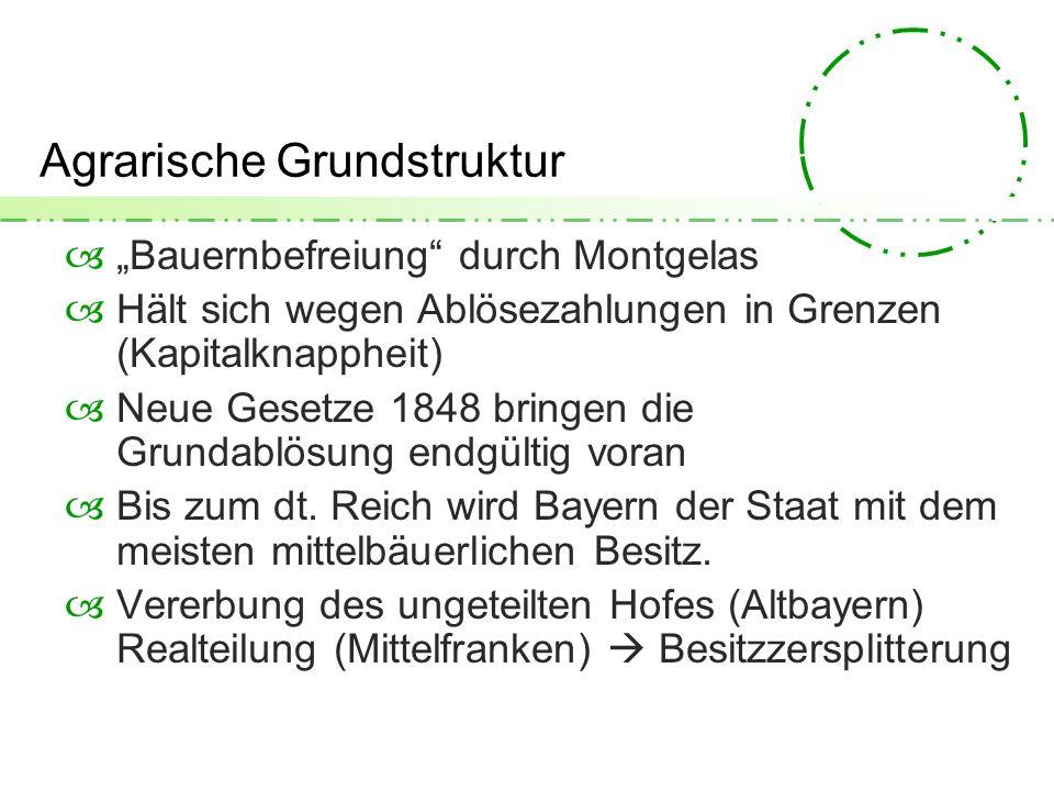 Agrarische Grundstruktur Bauernbefreiung durch Montgelas Hält sich wegen Ablösezahlungen in Grenzen (Kapitalknappheit) Neue Gesetze 1848 bringen die Grundablösung endgültig voran Bis zum dt.
