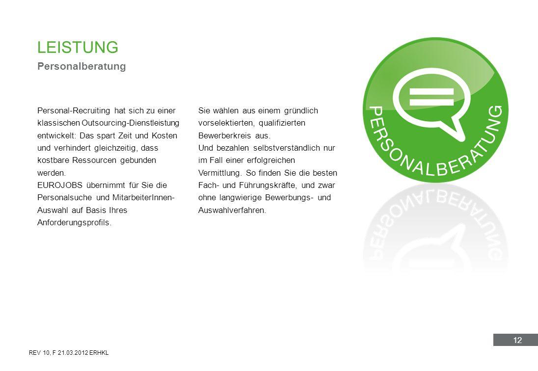 12 LEISTUNG Personalberatung Personal-Recruiting hat sich zu einer klassischen Outsourcing-Dienstleistung entwickelt: Das spart Zeit und Kosten und ve