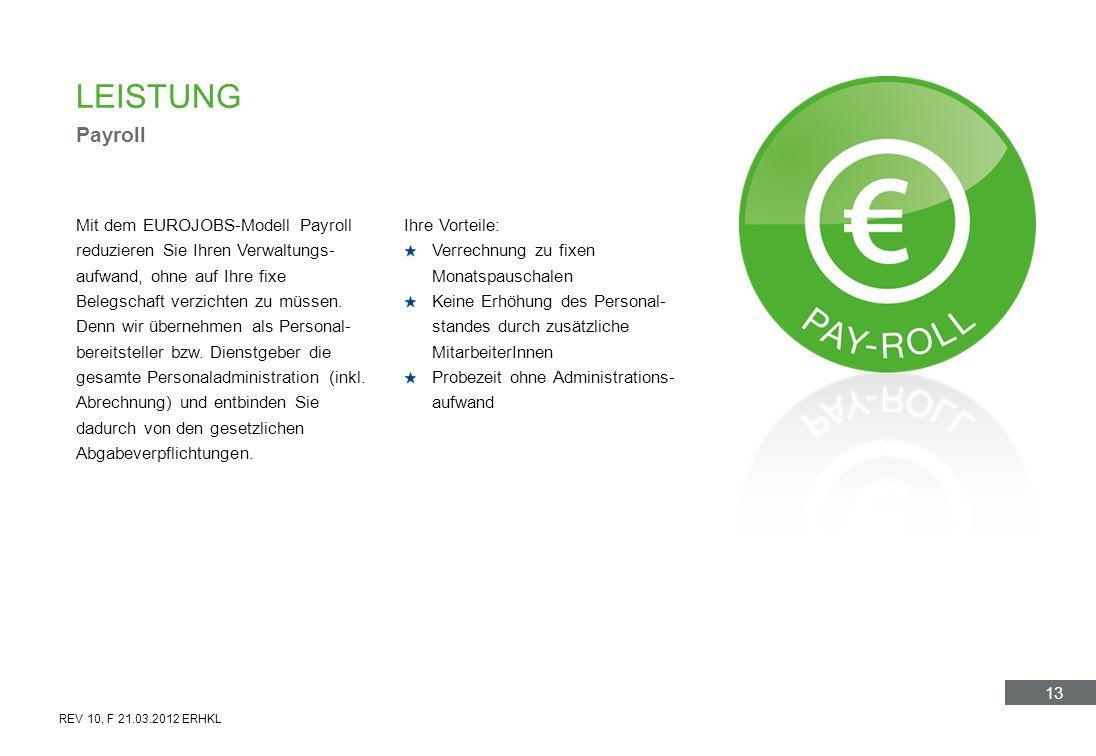 13 Mit dem EUROJOBS-Modell Payroll reduzieren Sie Ihren Verwaltungs- aufwand, ohne auf Ihre fixe Belegschaft verzichten zu müssen. Denn wir übernehmen
