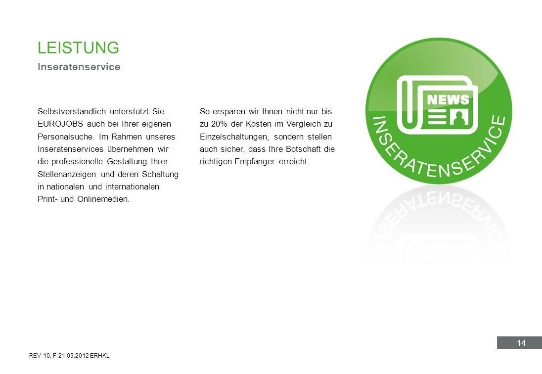 14 LEISTUNG Inseratenservice Selbstverständlich unterstützt Sie EUROJOBS auch bei Ihrer eigenen Personalsuche. Im Rahmen unseres Inseratenservices übe