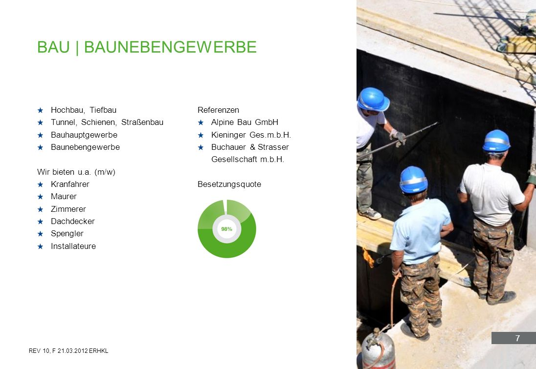 7 Hochbau, Tiefbau Tunnel, Schienen, Straßenbau Bauhauptgewerbe Baunebengewerbe Wir bieten u.a. (m/w) Kranfahrer Maurer Zimmerer Dachdecker Spengler I
