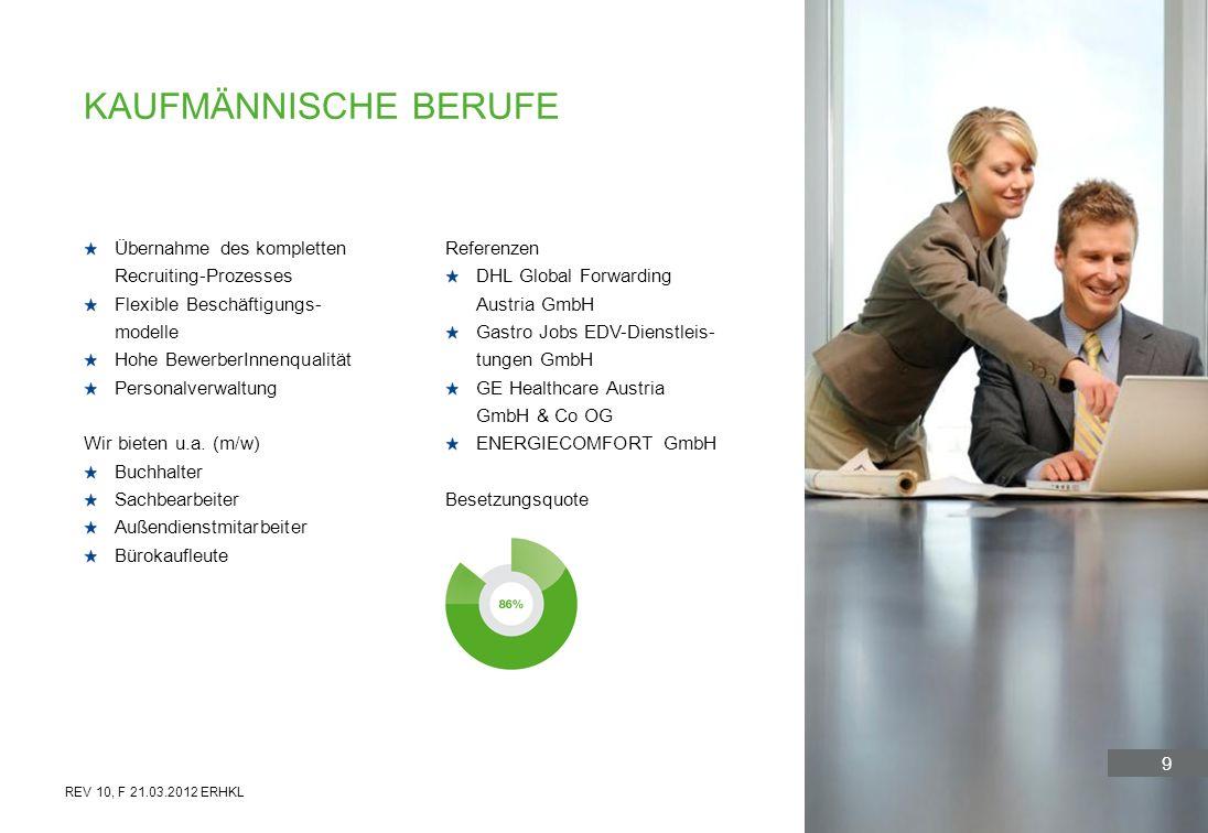 9 Übernahme des kompletten Recruiting-Prozesses Flexible Beschäftigungs- modelle Hohe BewerberInnenqualität Personalverwaltung Wir bieten u.a. (m/w) B