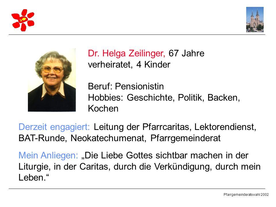 Pfarrgemeinderatswahl 2002 Dr. Helga Zeilinger, 67 Jahre verheiratet, 4 Kinder Beruf: Pensionistin Hobbies: Geschichte, Politik, Backen, Kochen Derzei