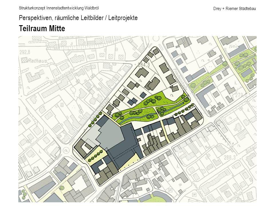 Drey + Riemer Städtebau Perspektiven, räumliche Leitbilder / Leitprojekte Teilraum Mitte Strukturkonzept Innenstadtentwicklung Waldbröl