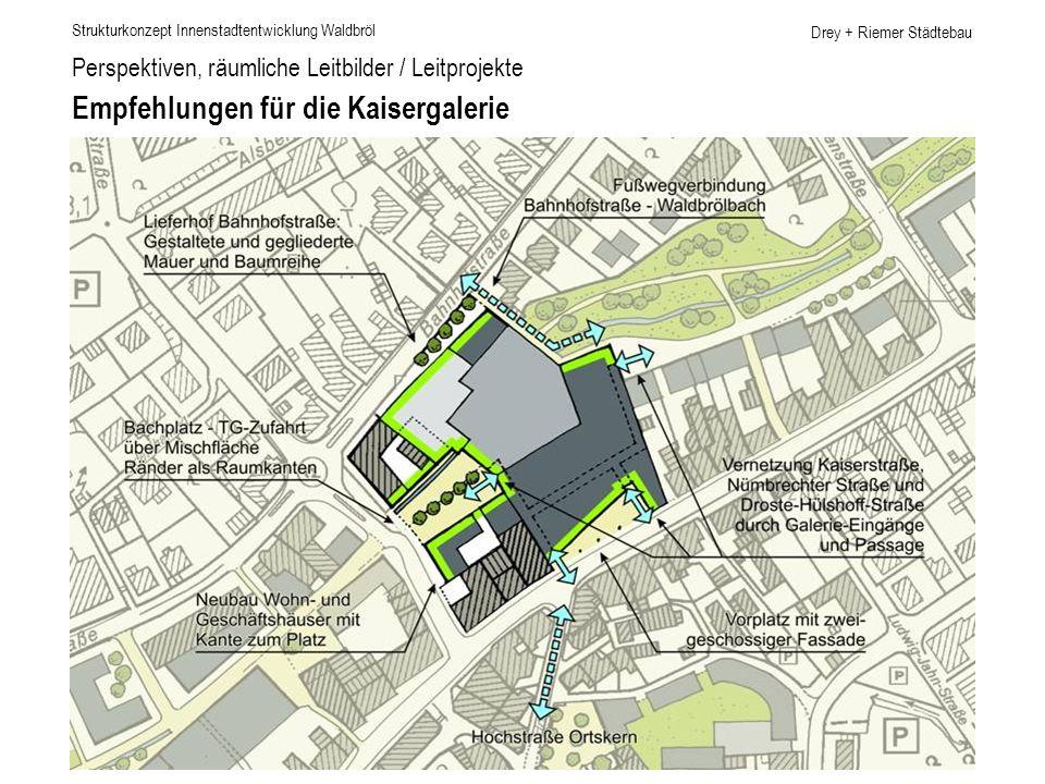 Drey + Riemer Städtebau Perspektiven, räumliche Leitbilder / Leitprojekte Empfehlungen für die Kaisergalerie Strukturkonzept Innenstadtentwicklung Wal