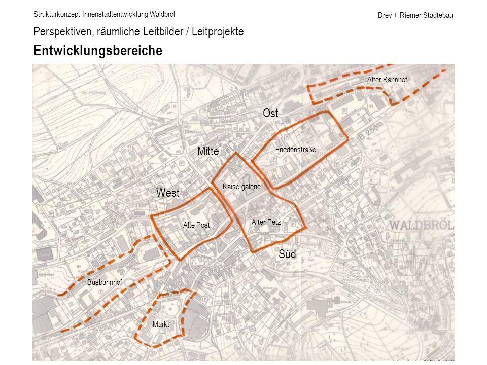 Drey + Riemer Städtebau Perspektiven, räumliche Leitbilder / Leitprojekte Entwicklungsbereiche Strukturkonzept Innenstadtentwicklung Waldbröl Alter Ba