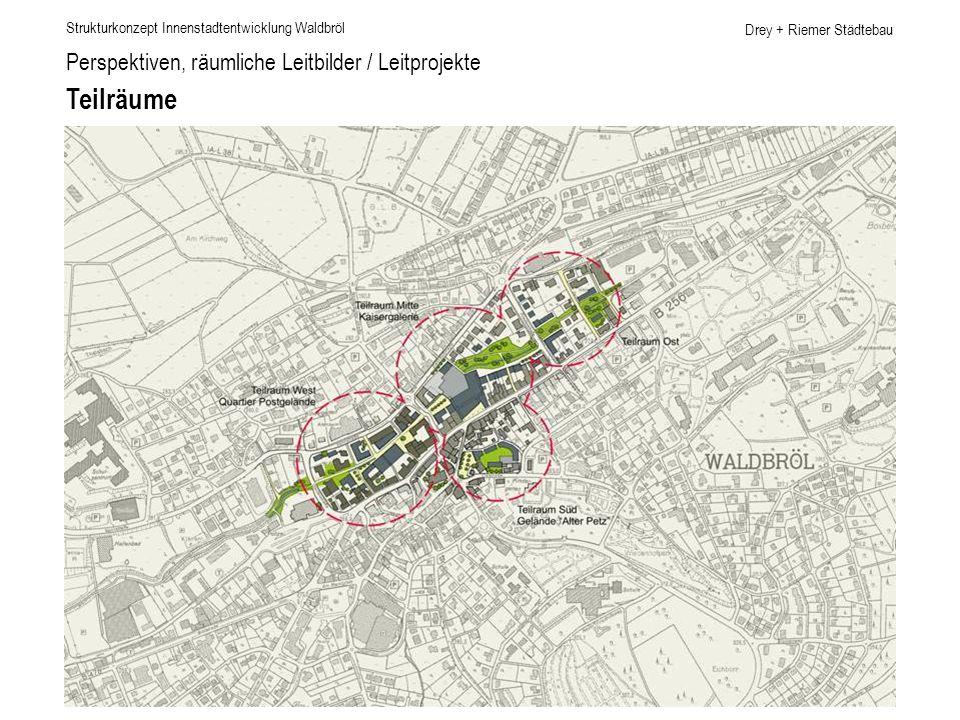 Drey + Riemer Städtebau Perspektiven, räumliche Leitbilder / Leitprojekte Teilräume Strukturkonzept Innenstadtentwicklung Waldbröl