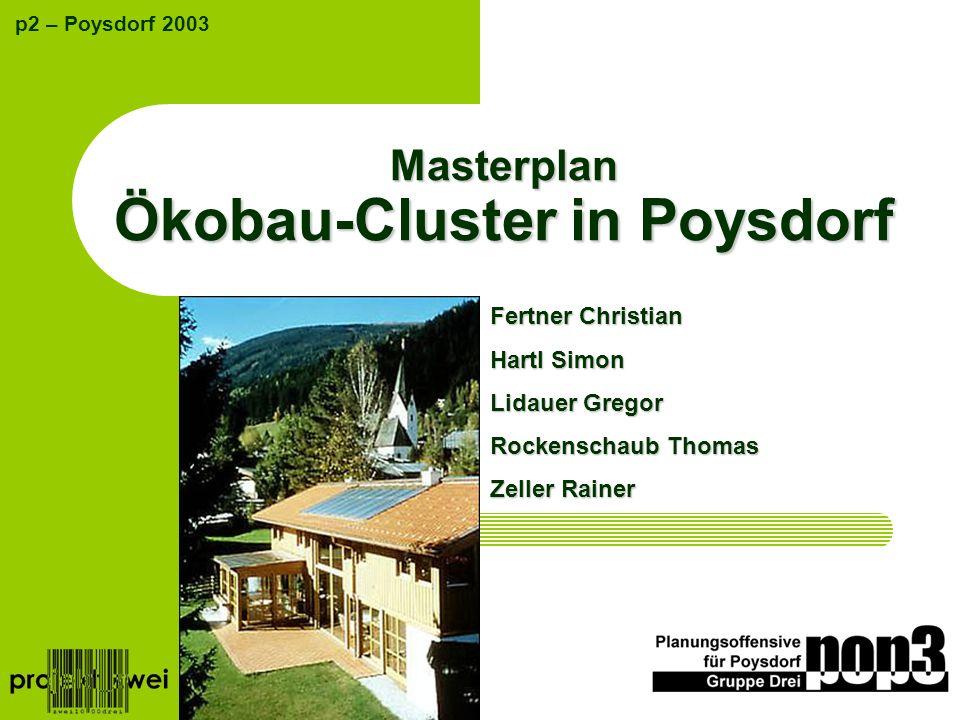 Masterplan Ökobau-Cluster in Poysdorf p2 – Poysdorf 2003 Fertner Christian Hartl Simon Lidauer Gregor Rockenschaub Thomas Zeller Rainer