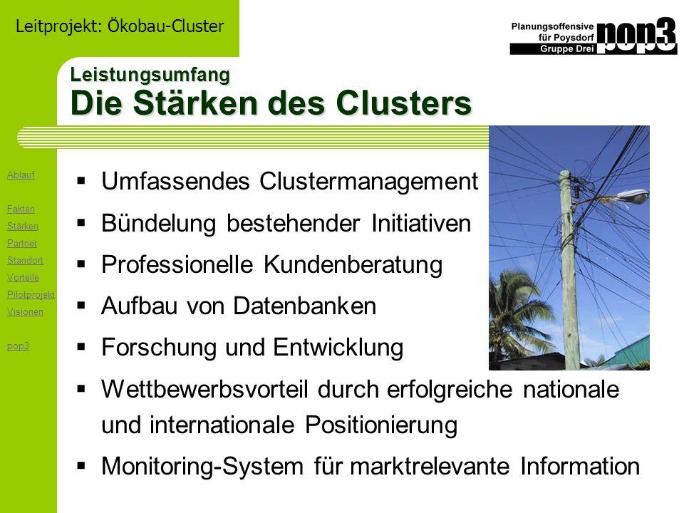 Ablauf Fakten Stärken Partner Standort Vorteile Pilotprojekt Visionen pop3 Leitprojekt: Ökobau-Cluster Relevante Branchen / Regionale Innovation Wer sind die Clusterpartner .