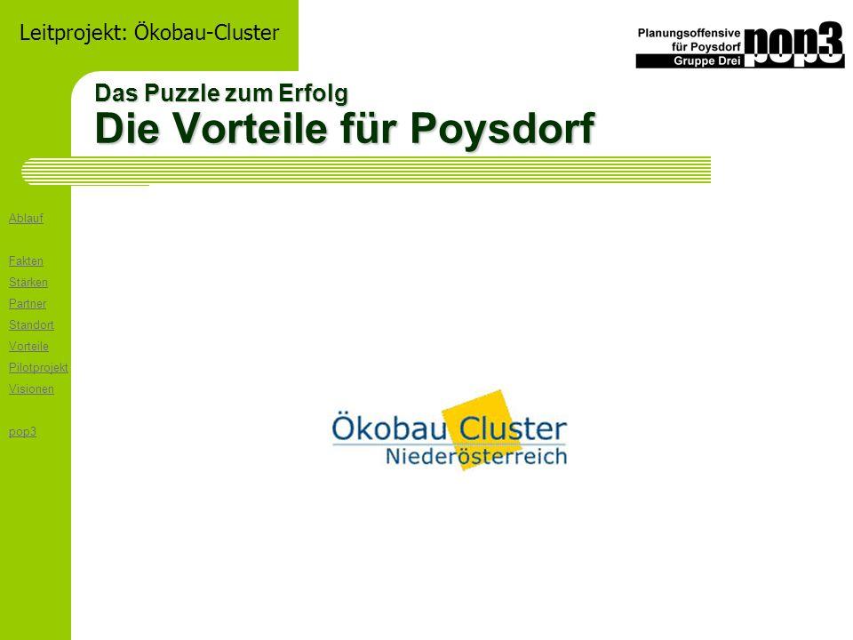 Ablauf Fakten Stärken Partner Standort Vorteile Pilotprojekt Visionen pop3 Leitprojekt: Ökobau-Cluster Das Puzzle zum Erfolg Die Vorteile für Poysdorf