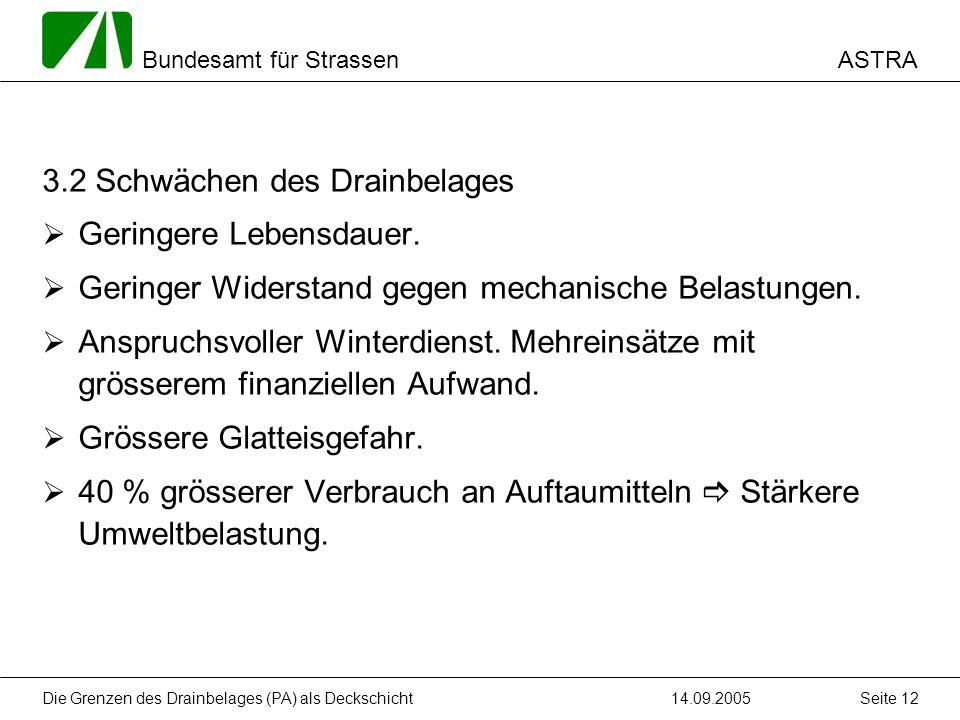 ASTRA Bundesamt für Strassen 14.09.2005Die Grenzen des Drainbelages (PA) als Deckschicht Seite 12 3.2 Schwächen des Drainbelages Geringere Lebensdauer