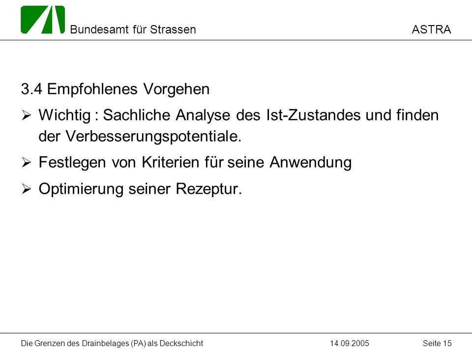 ASTRA Bundesamt für Strassen 14.09.2005Die Grenzen des Drainbelages (PA) als Deckschicht Seite 15 3.4 Empfohlenes Vorgehen Wichtig : Sachliche Analyse