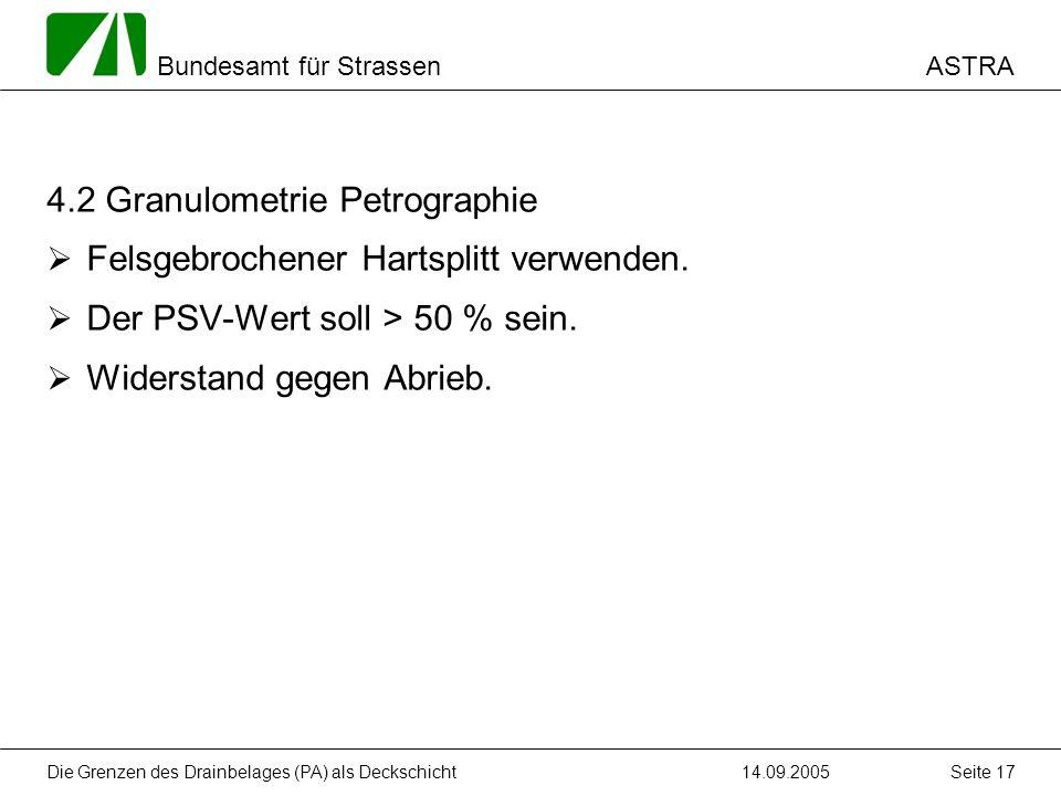 ASTRA Bundesamt für Strassen 14.09.2005Die Grenzen des Drainbelages (PA) als Deckschicht Seite 17 4.2 Granulometrie Petrographie Felsgebrochener Harts
