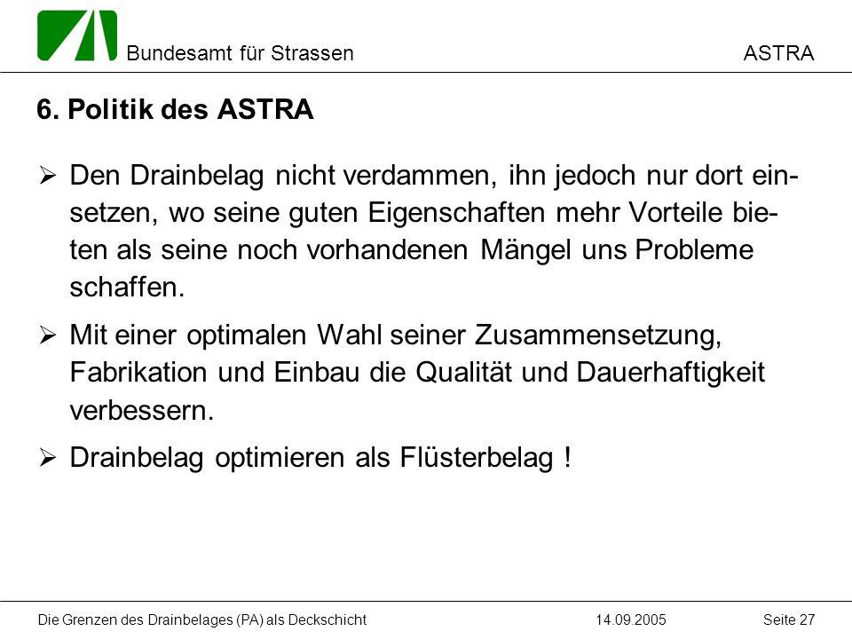 ASTRA Bundesamt für Strassen 14.09.2005Die Grenzen des Drainbelages (PA) als Deckschicht Seite 27 6. Politik des ASTRA Den Drainbelag nicht verdammen,