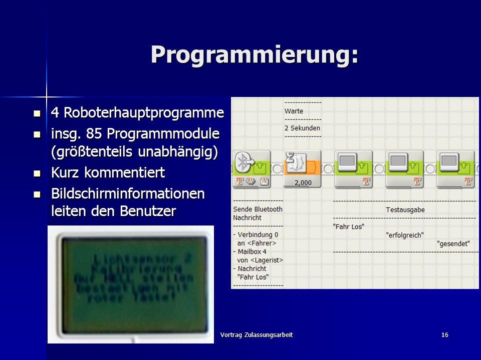 Vortrag Zulassungsarbeit16 Programmierung: 4 Roboterhauptprogramme 4 Roboterhauptprogramme insg. 85 Programmmodule (größtenteils unabhängig) insg. 85