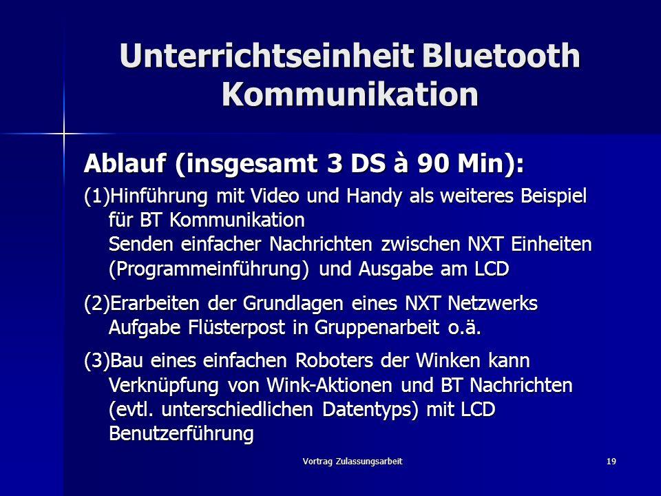 Vortrag Zulassungsarbeit19 Unterrichtseinheit Bluetooth Kommunikation Ablauf (insgesamt 3 DS à 90 Min): (1)Hinführung mit Video und Handy als weiteres