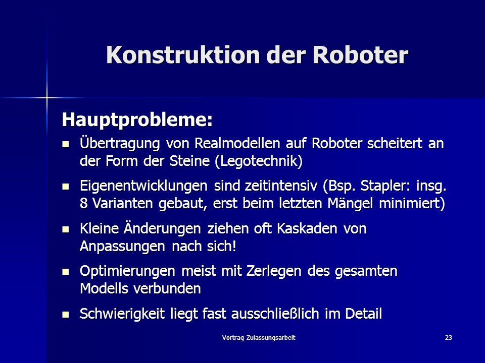 Vortrag Zulassungsarbeit23 Konstruktion der Roboter Hauptprobleme: Übertragung von Realmodellen auf Roboter scheitert an der Form der Steine (Legotech
