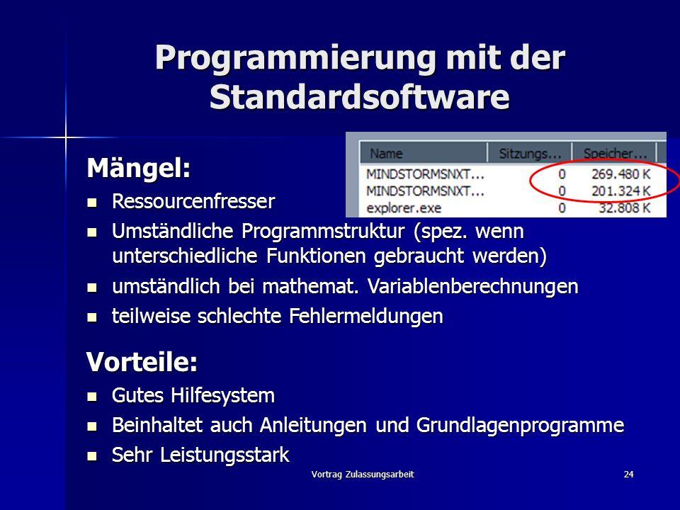 Vortrag Zulassungsarbeit24 Programmierung mit der Standardsoftware Mängel: Ressourcenfresser Ressourcenfresser Umständliche Programmstruktur (spez. we