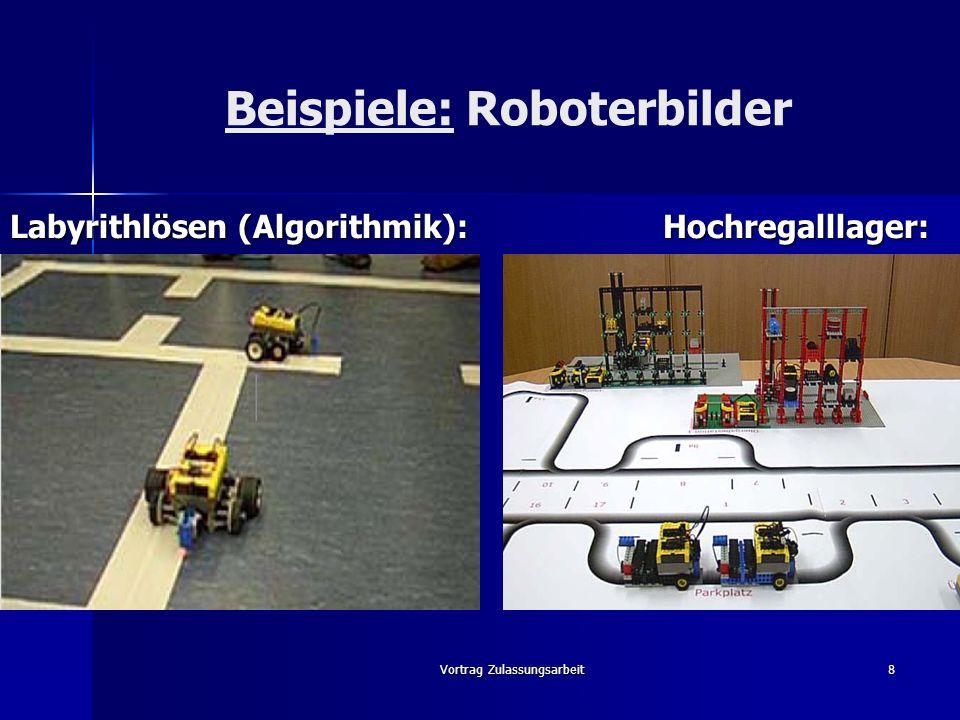 Vortrag Zulassungsarbeit9 Erkenntnisse Roboter sind stark und andauernd motivierend Roboter sind stark und andauernd motivierend Teilnehmer zeigen hohe Leistungsbereitschaft Teilnehmer zeigen hohe Leistungsbereitschaft Roboter fördern Kreativität, Metakompetenzen und bauen Hemmungen ab Roboter fördern Kreativität, Metakompetenzen und bauen Hemmungen ab Einsatz von Robotern ist zeitaufwendig und stellt hohe Kompetenzansprüche an die Lehrperson Einsatz von Robotern ist zeitaufwendig und stellt hohe Kompetenzansprüche an die Lehrperson Variable Programmierung => breite Einsetzbarkeit Variable Programmierung => breite Einsetzbarkeit Lerninhalte müssen gezielt und klar festgelegt sein (leichtes abdriften möglich) Lerninhalte müssen gezielt und klar festgelegt sein (leichtes abdriften möglich) Möglichkeit einer Simulationssoftware erleichtert praktische Realisierbarkeit (s.