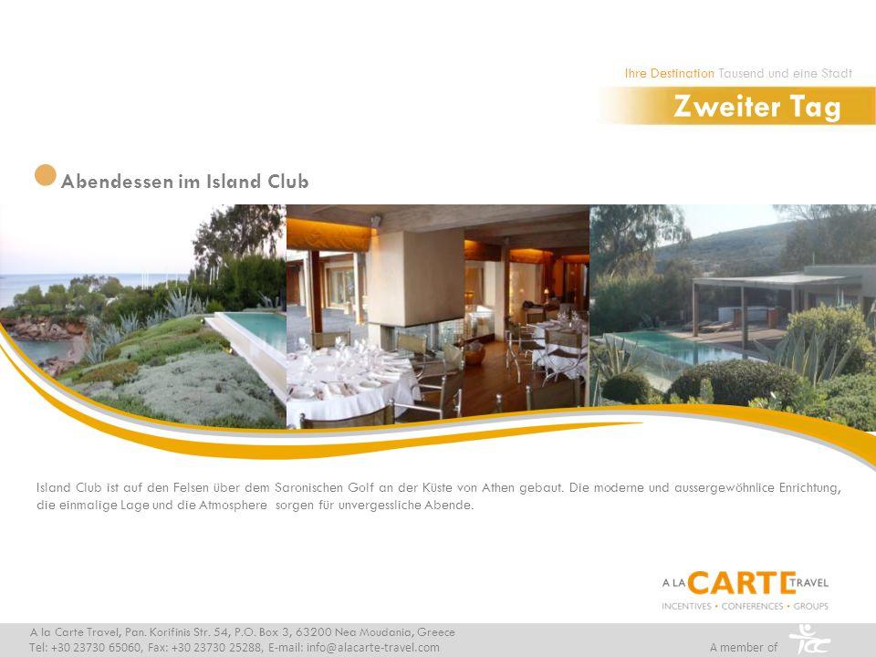 Island Club ist auf den Felsen über dem Saronischen Golf an der Küste von Athen gebaut.