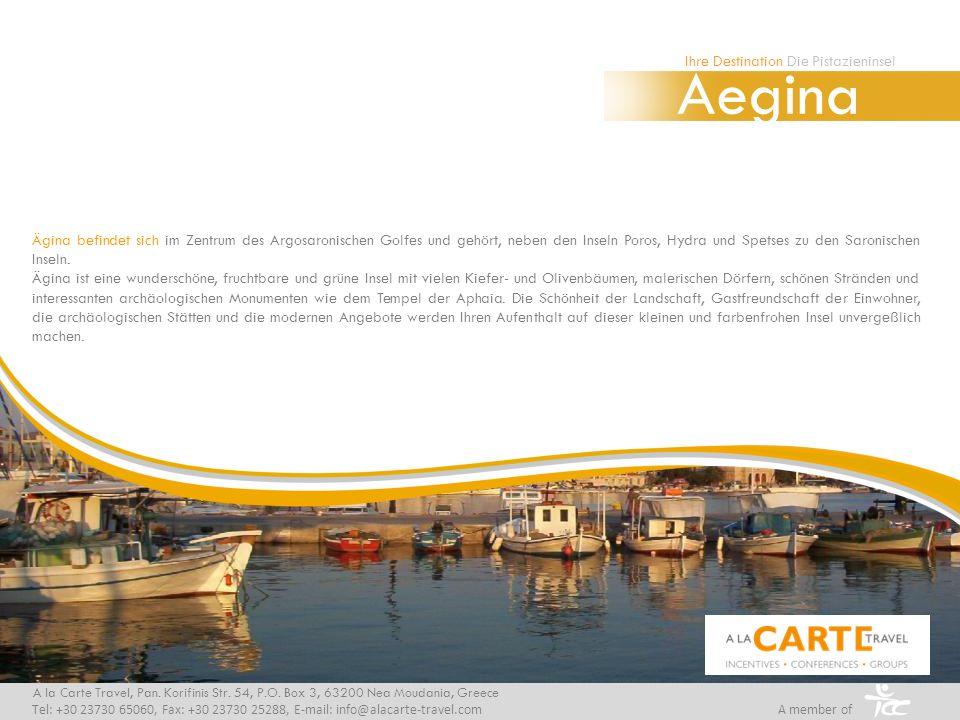Ägina befindet sich im Zentrum des Argosaronischen Golfes und gehört, neben den Inseln Poros, Hydra und Spetses zu den Saronischen Inseln. Ägina ist e