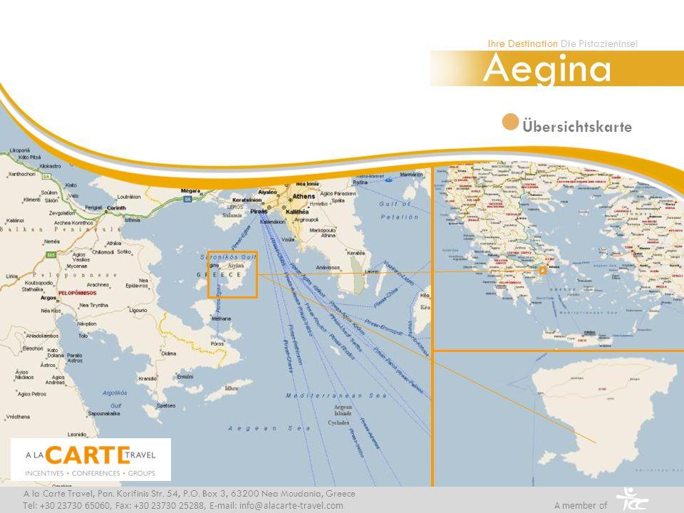 Übersichtskarte Aegina A la Carte Travel, Pan. Korifinis Str. 54, P.O. Box 3, 63200 Nea Moudania, Greece Tel: +30 23730 65060, Fax: +30 23730 25288, E