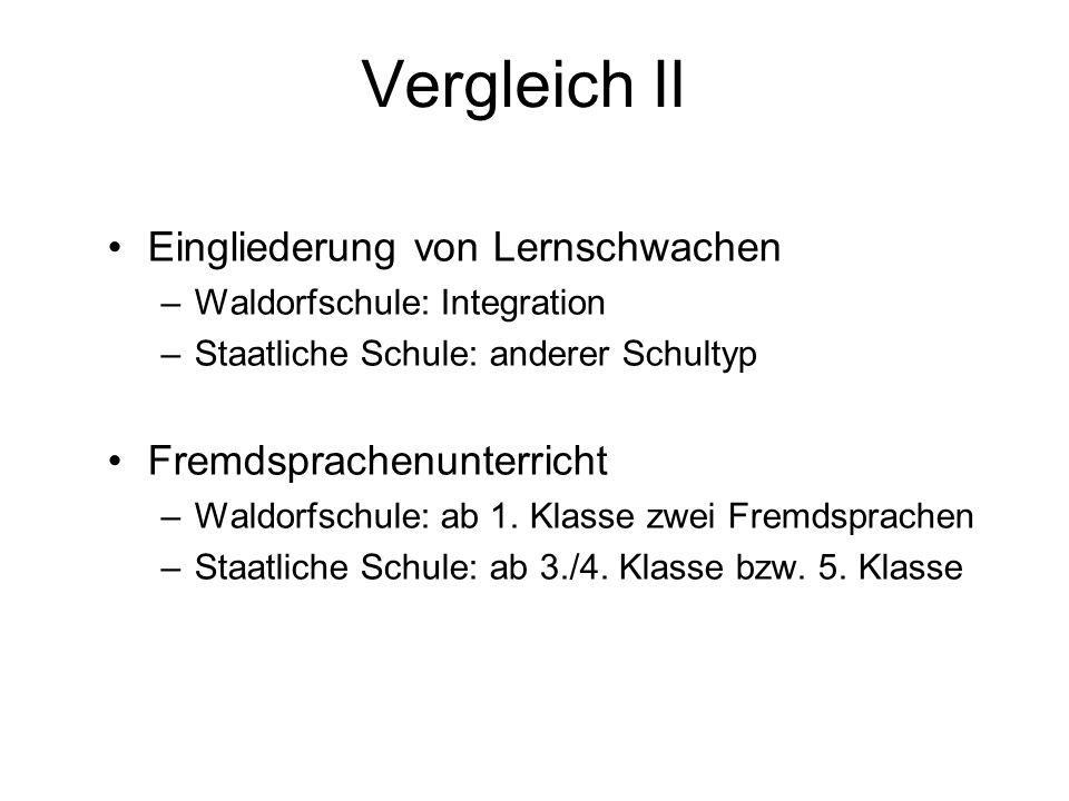 Vergleich II Eingliederung von Lernschwachen –Waldorfschule: Integration –Staatliche Schule: anderer Schultyp Fremdsprachenunterricht –Waldorfschule:
