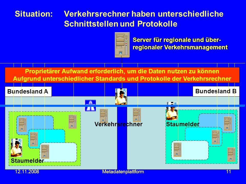 12.11.2008Metadatenplattform11 Situation:Verkehrsrechner haben unterschiedliche Schnittstellen und Protokolle Server für regionale und über- regionale