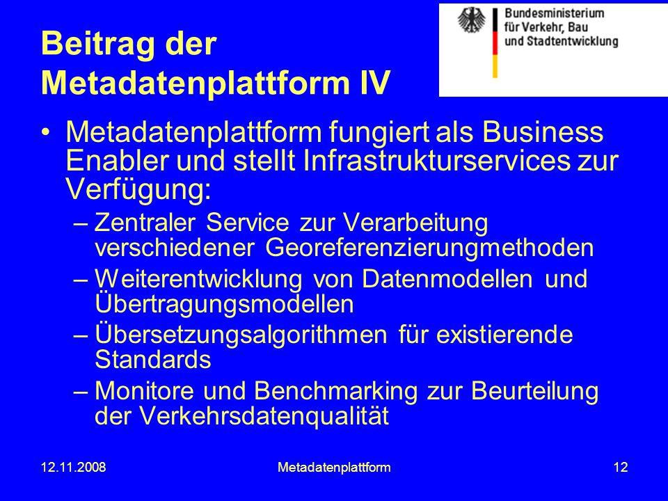 12.11.2008Metadatenplattform12 Beitrag der Metadatenplattform IV Metadatenplattform fungiert als Business Enabler und stellt Infrastrukturservices zur
