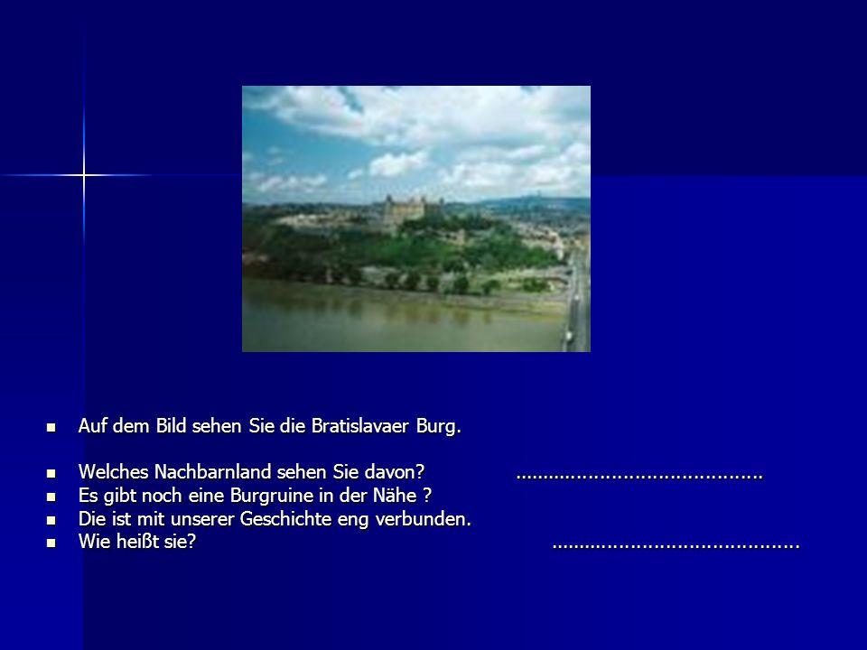 Auf dem Bild sehen Sie die Bratislavaer Burg. Auf dem Bild sehen Sie die Bratislavaer Burg. Welches Nachbarnland sehen Sie davon?.....................