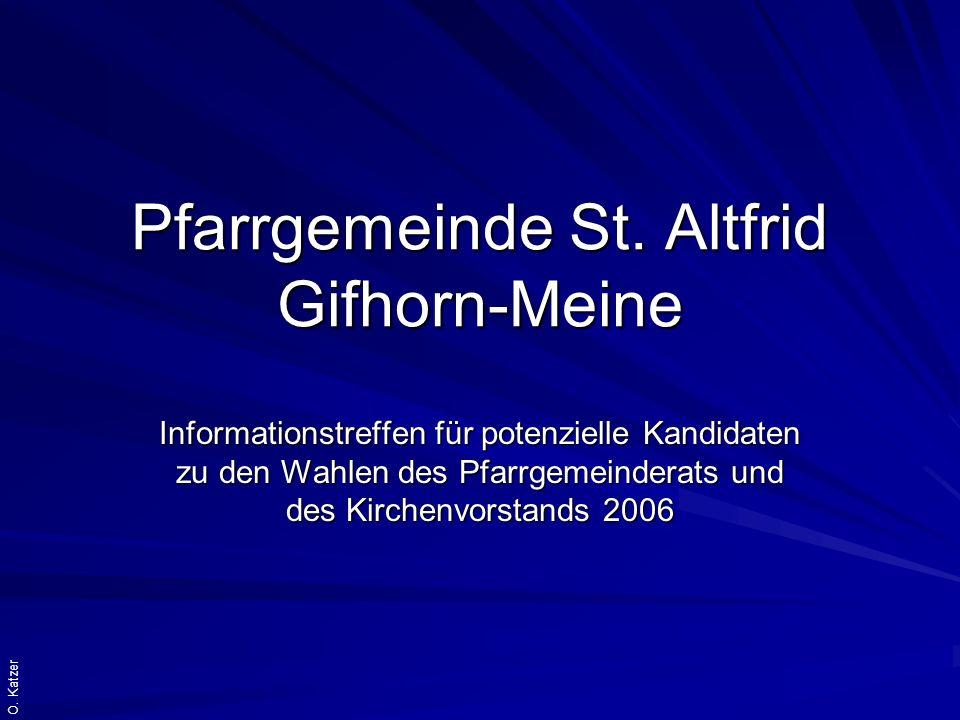 O. Katzer Pfarrgemeinde St. Altfrid Gifhorn-Meine Informationstreffen für potenzielle Kandidaten zu den Wahlen des Pfarrgemeinderats und des Kirchenvo