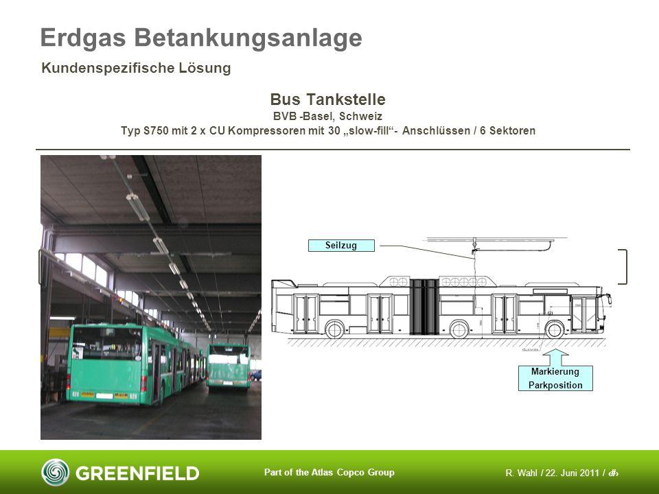 R. Wahl / 22. Juni 2011 / 16 Part of the Atlas Copco Group Bus Tankstelle BVB -Basel, Schweiz Typ S750 mit 2 x CU Kompressoren mit 30 slow-fill- Ansch