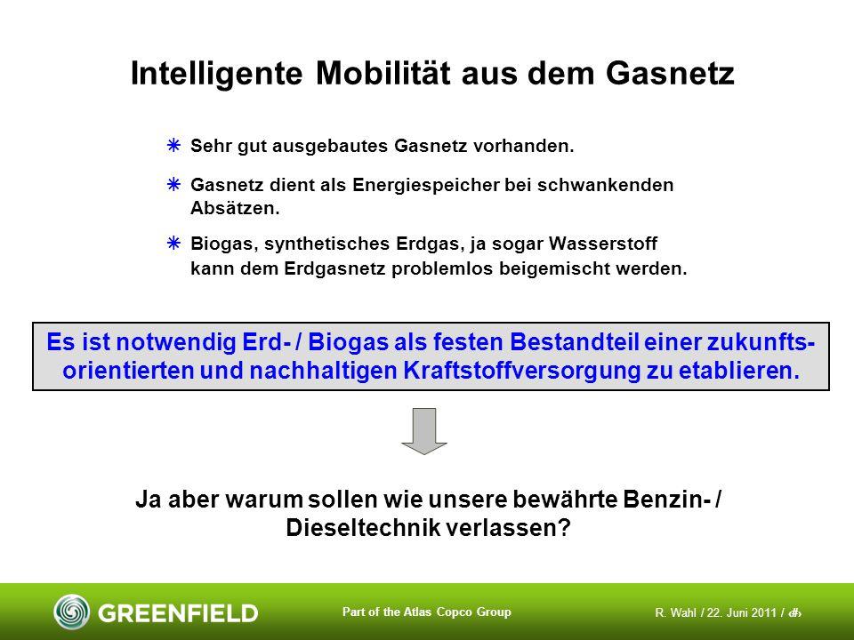 R. Wahl / 22. Juni 2011 / 3 Part of the Atlas Copco Group Intelligente Mobilität aus dem Gasnetz Sehr gut ausgebautes Gasnetz vorhanden. Gasnetz dient