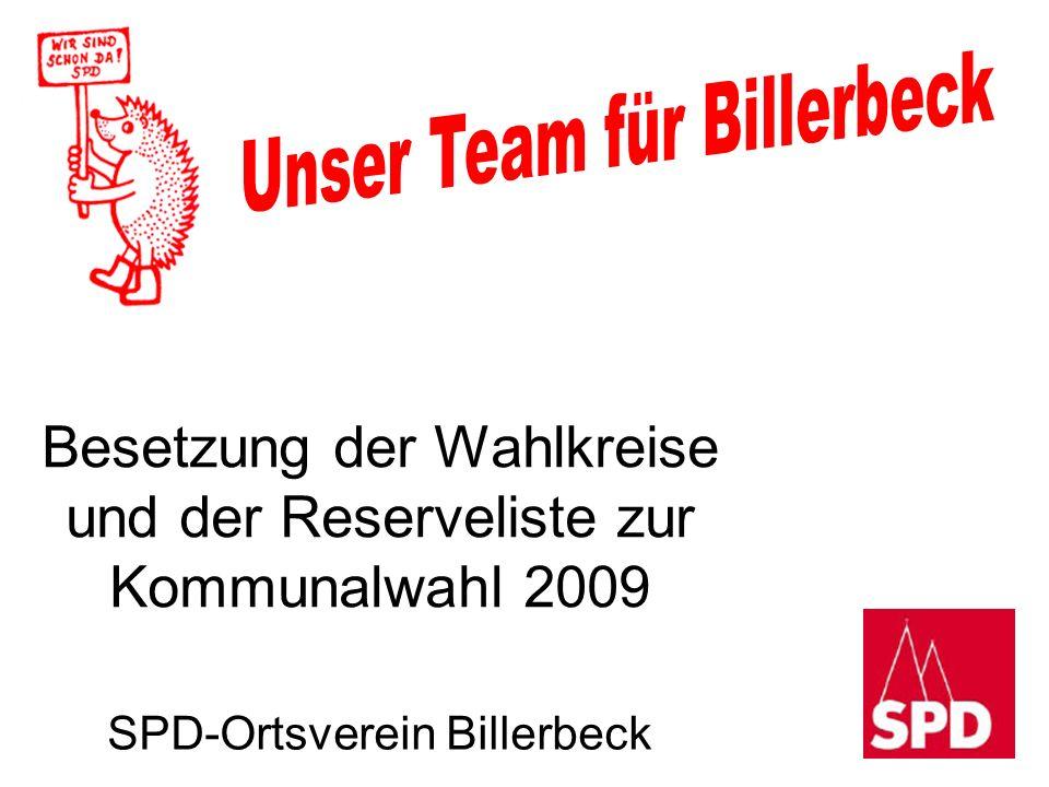 Besetzung der Wahlkreise und der Reserveliste zur Kommunalwahl 2009 SPD-Ortsverein Billerbeck
