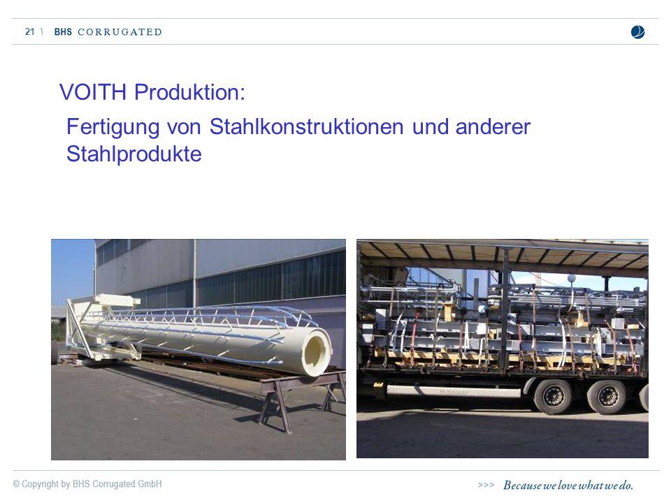 21 VOITH Produktion: Fertigung von Stahlkonstruktionen und anderer Stahlprodukte