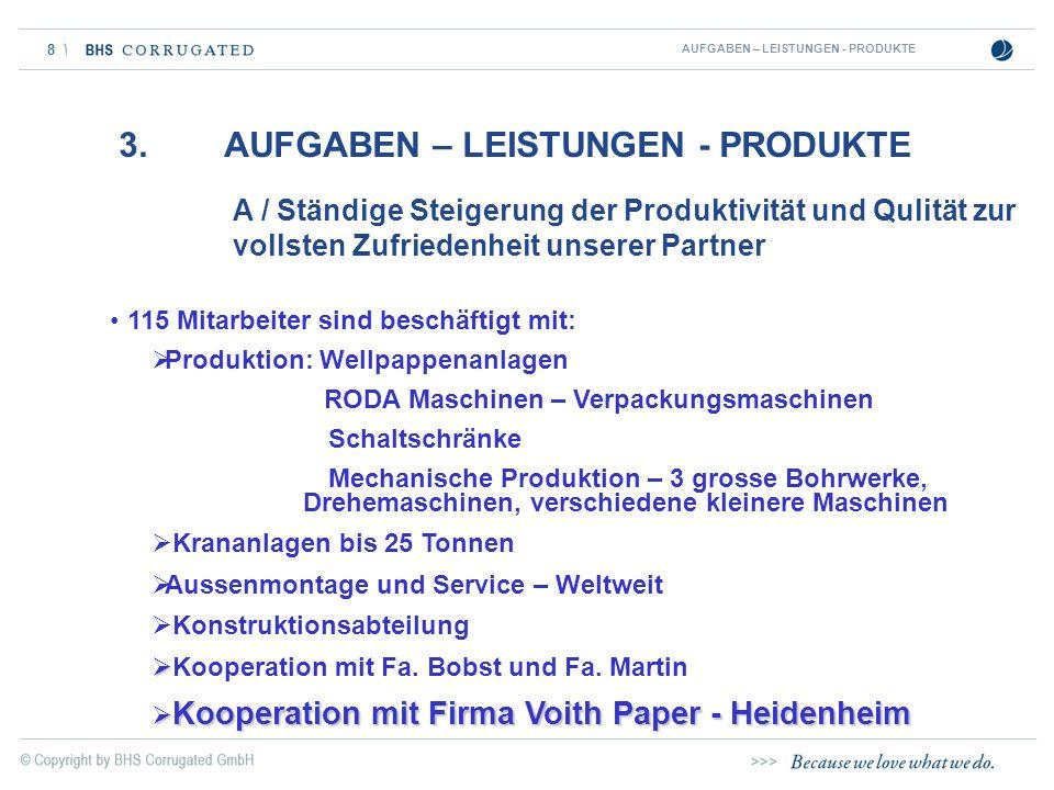 8 A / Ständige Steigerung der Produktivität und Qulität zur vollsten Zufriedenheit unserer Partner AUFGABEN – LEISTUNGEN - PRODUKTE 115 Mitarbeiter si