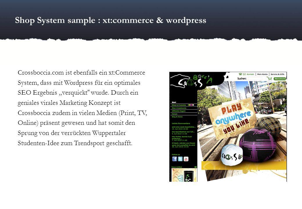 Shop System sample : xt:commerce & wordpress Crossboccia.com ist ebenfalls ein xt:Commerce System, dass mit Wordpress für ein optimales SEO Ergebnis v