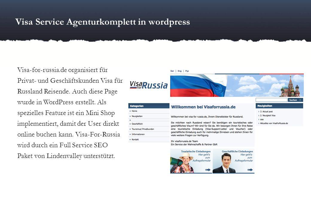 Visa Service Agenturkomplett in wordpress Visa-for-russia.de organisiert für Privat- und Geschäftskunden Visa für Russland Reisende. Auch diese Page w