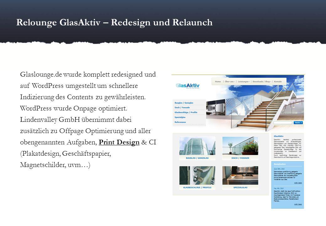 Relounge GlasAktiv – Redesign und Relaunch Glaslounge.de wurde komplett redesigned und auf WordPress umgestellt um schnellere Indizierung des Contents