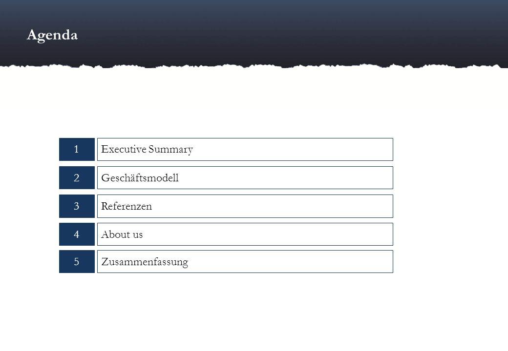 1 5 3Referenzen Executive Summary 4About us Zusammenfassung 2Geschäftsmodell Agenda