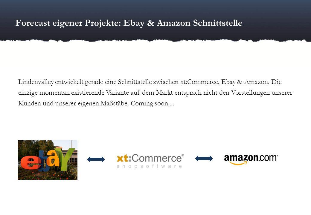 Forecast eigener Projekte: Ebay & Amazon Schnittstelle Lindenvalley entwickelt gerade eine Schnittstelle zwischen xt:Commerce, Ebay & Amazon. Die einz