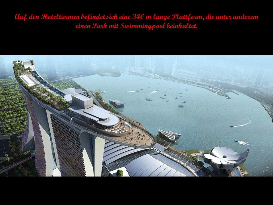 Die drei Hoteltürme sind erst im 56. und 57. Stockwerk miteinander verbunden.
