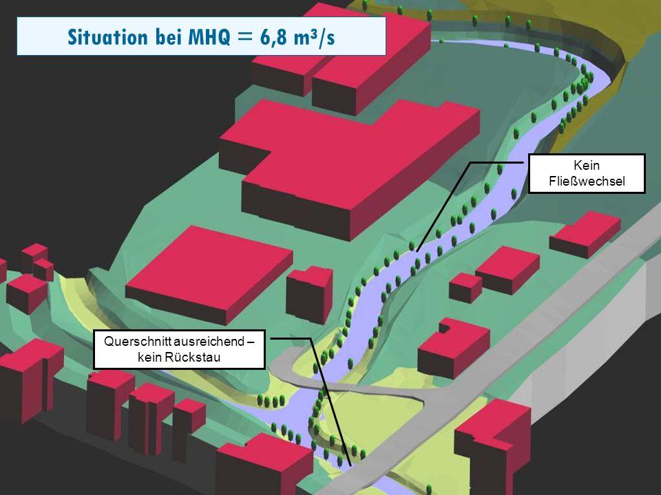 Folie 14 Die Ergebnisse der 1-D Modellierung können in einem 3- Dimensionalen Geländemodell dargestellt werden Die Wasserstände zwischen den eingemessenen Profilen werden linear interpoliert und stellen daher nur einen Näherungswert dar 1-Dimensionale Abflussmodelle können innerhalb eines Querschnittes nur eine horizontale Spiegellage errechnen.